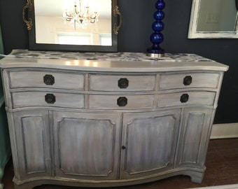 Serpentine Bow Front Vintage Buffet/Server Painted in Mud Puddle and White Washed. 74 Church Street Montclair NJ