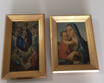 Mid Century Prints/Wooden Frame Print/ Madonna & Child Virgin Mary/Baby Jesus/ Old Catholic Print/  Religious/ Christianity Art/Gatormom13