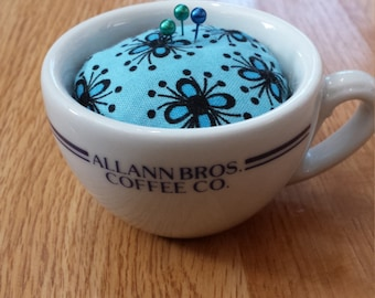 Upcycled Unique Pin Cushion Allman Bros. Coffee Co. Cup Blue