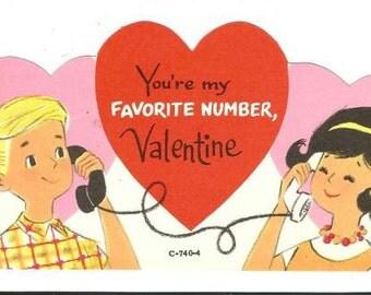 Vintage Valentine's Day Card Vintage Telephones Greeting Card Child's Valentine Unused NOS with Envelope