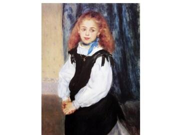 "Pierre-Auguste Renoir, ""Portrait of Mademoiselle Legrand"", Color Plate of 1875, Unframed Fine Art Book Plate"