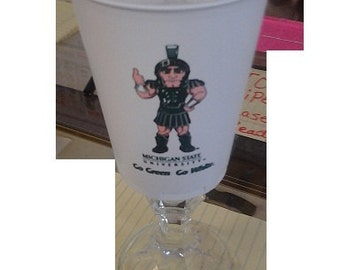 Set of 2 Michigan State University Wine glasses