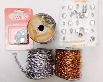 DESTASH Jewelry Supplies, 3 Rolls of Chain -- 21 Yards! --Assorted Acrylic Jewels and Brads