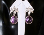 SHOP CLOSING SALE: Ashira Dramatic Pink Amethyst with Stunning Silver Flower Stud Earring