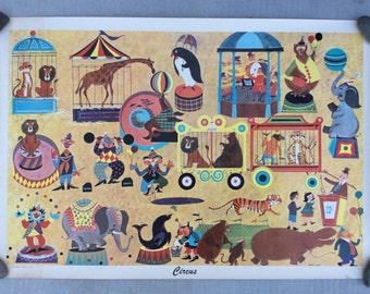 Original Vintage Corcus Poster Mid Century Art by Berry Weekes 50s 60s Large