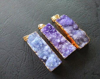 10pcs Purple Druzy Agate Pendant Rectangle 13x37mm- Gold plated-SIMILAR AS Pictured