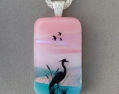 Marshland Heron Scenic Fused Dichroic Glass Pendant Necklace- Ready to Ship  A2925
