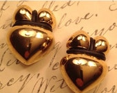 50% Vintage Valentine Heart Couture Vibe Earrings Gold Black Rubber Trim