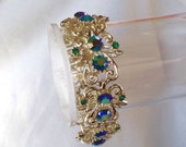 50% Vintage Coro Scroll Bracelet AB Rhinestones Blue GreenP eacock Emerald Links