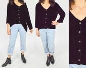 1990's BLACK VELVET Blouse. High Low Hem. Draped Oversized Cut.