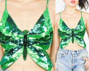 90's GREEN SEQUIN  BUTTERFLY Crop Tank Top. 1990's Grunge Mod. Crop Backless Tank Top size  S/Medium. Rave Club Modern.Emerald Green Sequins