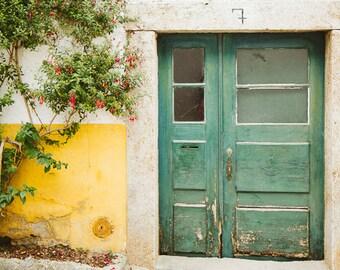 Green Door Print, Weathered Door Art Print, Door Photograph, Portugal Photos, Travel Photos, Flower Print, Wall Decor, European Photography