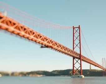 Lisbon, Red Bridge, Travel Photography, Tagus River, European Print,Red Bridge,River,Fine Art Photography,Dreamy City Print,Red Architecture