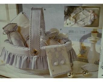 Baby Gift Accessories Pattern, Basket, Bottle Holder, Bib, Change Mat, Stuffed Bunny, Slippers, Vogue No. 8927 UNCUT