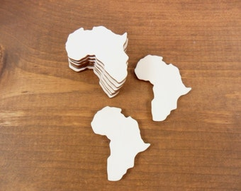 """Africa Continent Country Shape Unfinished Laser Cut Wood - No Hole - 2"""" OR 1"""" Select Size - 20 Pieces"""