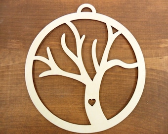 "Wood Tree of Life Unfinished Laser Cut Family Tree Lovers 6 1/2"" H x 6"" W"