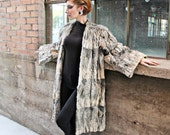 1940's Dramatic Shoulders Vintage Grey Fur Coat Size Medium Large XL by Maeberry Vintage