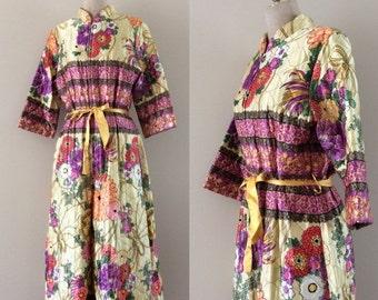 SALE 1970's Quilted Floral Loungewear Jumpsuit Vintage Floral Jumpsuit Flower Print Romper Size Small Medium by Maeberry Vintage