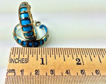 Silver and blue window earrings