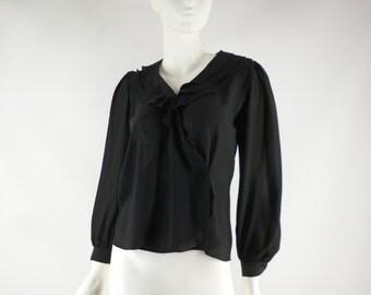 Wrap Blouse with 3 Layer Peter Pan Collar,  1980s Size Medium