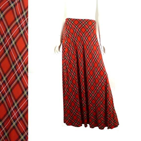 plaid skirt maxi length vintage 1970s tartan 30 34 inch
