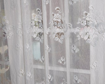 Free Shipping..Vintage Sparkling White Lace Panel with Pink and Blue Flowers 69 Long