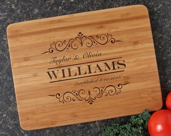 Personalized Cutting Board, Personalized Wedding Gift, Custom Engraved Bamboo Cutting Boards, Bridal Shower, Housewarming Gifts-12 x 9 D34