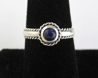 Sterling Silver & Lapis Lazuli Blue Ring / Band - Vintage, Size 6 3/4