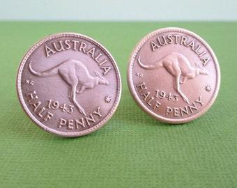 Australia Half Penny Cuff Links - Vintage Repurposed Bronze Coins
