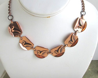 """Vintage Copper Adjustable Choker Necklace - Up to 17"""" in Length"""