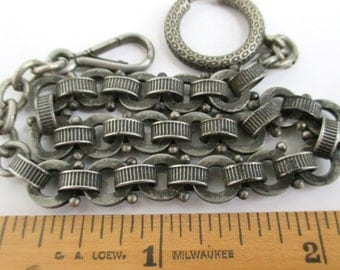 """Pocket Watch Chain - Vintage / Antique Chunky 10"""" Chain w/ Large Spring Clasp and Great Texture / Design"""
