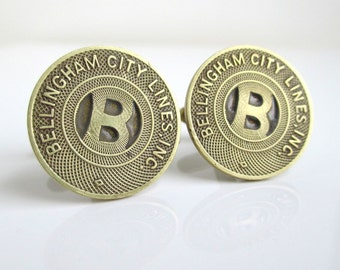 Bellingham, WA Transit Token Cuff Links - Gold, Vintage Repurposed Coin