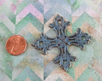 Cross Large Filagree Pewter Turquoise Blue Patina Square Pendant
