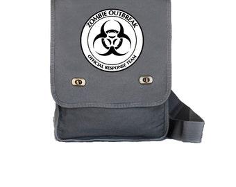 Canvas Field Bag - Walking Dead - Zombie - Book Bag - Computer Bag - Gray - Logo