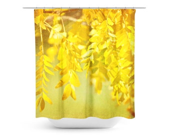 Shower Curtain - Yellow Leaves - Bathroom Decor - Art Bathroom Decor - Nature Home Decor - Textured Photography - Green and Yellow - Fall