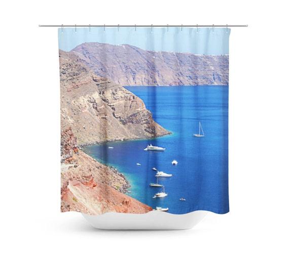 Shower curtain blue bathroom decor sanorini greece nautical