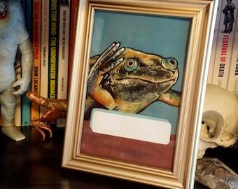 Original Framed Painting Xenopus Frog