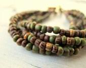 Layered Bracelet, Bohemian Beaded Cuff, Aged Picasso Glass, Czech Gass Bracelet,  Bohemian Bijoux, Earthy Color Mix, Festival Fashion,  Boho