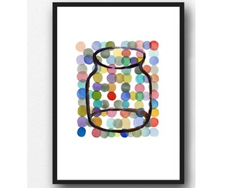 summer kitchen art, colored dots painting, watercolor painting,colorful kitchen art, Home décor, watercolor print multicolor