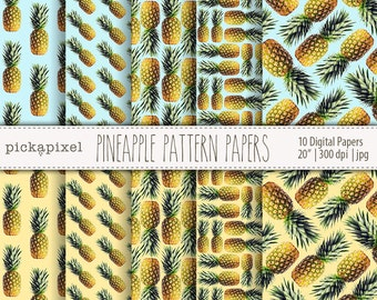 Pineapple Digital Papers, Pineapple background, Paper Pack, Digital Papers, Printable Pack, Pineapple Papers for Craft and DIY