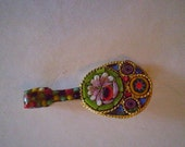 vintage MILLE FIORI LUTE Mosaic Pin Free Domestic Shipping