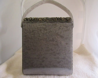 1960s Lucite Grey Marble Purse