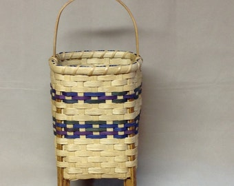 SALE!  Hand Woven Basket with Wood Feet, Purple, Blue and Green Accents