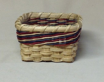 Square Basket with Plastic Liner, Hand Woven, Candy Dish, Patriotic