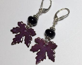 Purple Maple Leaf Sterling Silver Lever Back Earrings