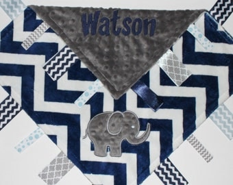 Personalized  DOUBLE MINKY Ribbon Tag Blanket with Elephant and Pacifier Clip, Large 16 x 16 Gray and Navy