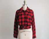 40's Wool Jacket // Vintage 1940's Checked Red Black Buffalo Check Plaid Wool Jacket S M