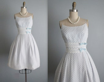 50's Prom Dress // Vintage 1950's Dotted Baby Blue Chiffon Full Wedding Party Prom Dress S