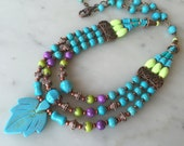 Colorful layered multistrand necklace earrings set, statement, blue turquoise, purple, olive, apple green, ethnic, genuine copper, beaded