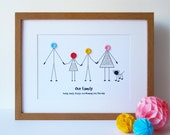 A4 Personalised Family Print - Personalized - Birthday Gift for Her /Him - Christmas Gift for Families - New Baby - New Home